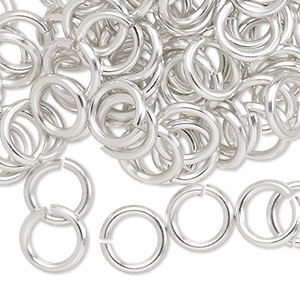 jumpring, anodized aluminum, silver, 10mm round, 6.8mm inside diameter, 14 gauge. sold per pkg of 100.