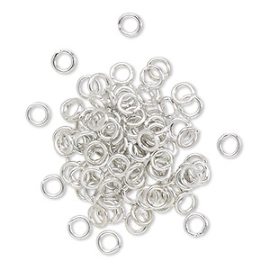 jumpring, anodized aluminum, silver, 4mm round, 2.4mm inside diameter, 20 gauge. sold per pkg of 100.