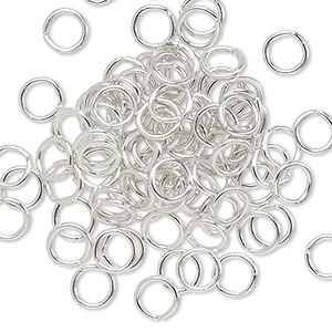 jumpring, anodized aluminum, silver, 6mm round, 4.2mm inside diameter, 18 gauge. sold per pkg of 100.