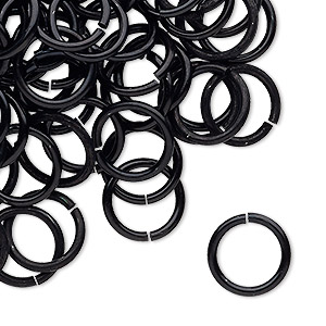 jumpring, anodized tempered aluminum, black, 12mm round, 9.2mm inside diameter, 15 gauge. sold per pkg of 100.