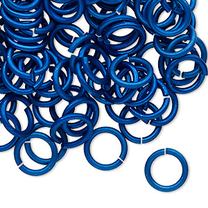 jumpring, anodized tempered aluminum, dark blue, 10mm round, 7.2mm inside diameter, 15 gauge. sold per pkg of 100.