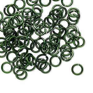 jumpring, anodized tempered aluminum, dark green, 6mm round, 4.2mm inside diameter, 18 gauge. sold per pkg of 100.