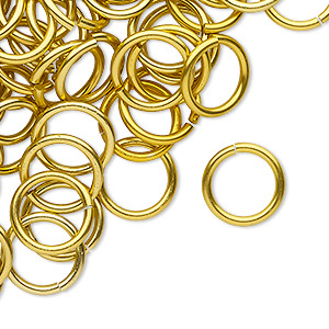 jumpring, anodized tempered aluminum, gold, 12mm round, 9.2mm inside diameter, 15 gauge. sold per pkg of 100.