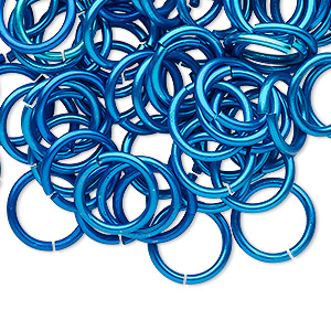 jumpring, anodized tempered aluminum, light blue, 12mm round, 9.2mm inside diameter, 15 gauge. sold per pkg of 100.