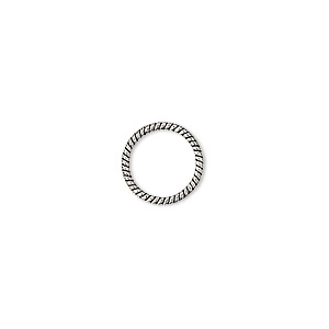 jumpring, antique sterling silver, 11mm soldered twisted round, 9.3mm inside diameter, 18 gauge. sold per pkg of 4.