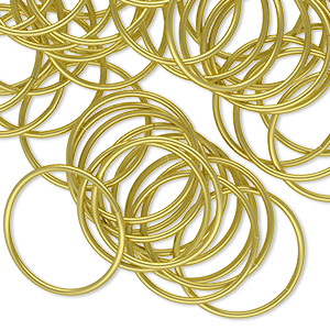 jumpring, brass, 18mm round, 16.4mm inside diameter, 20 gauge. sold per pkg of 100.