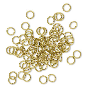 jumpring, brass, 5.5mm soldered round, 4mm inside diameter, 20 gauge. sold per pkg of 100.