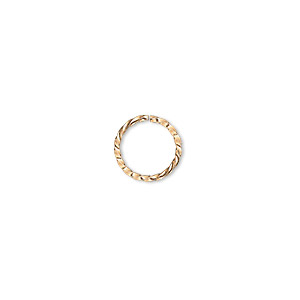jumpring, gold-plated brass, 10mm twisted round, 8mm inside diameter, 18 gauge. sold per pkg of 100.