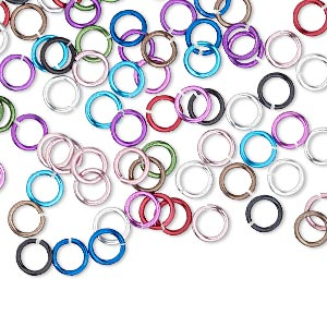 jumpring mix, anodized aluminum, mixed colors, 5mm round, 3.4mm inside diameter, 20 gauge. sold per pkg of 100.