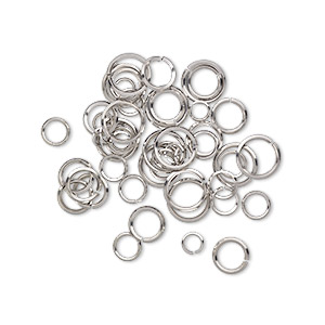 jumpring mix, stainless steel, 6-12mm round diamond wire, 4.3-9.5mm inside diameter, 16-20 gauge. sold per pkg of 50.