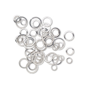 jumpring mix, stainless steel, 6-12mm round square wire, 4.3-10mm inside diameter, 18-20 gauge. sold per pkg of 50.