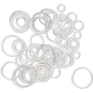 jumpring mix, sterling silver, 4-10mm round square wire, 2.7-9mm inside diameter, 22 gauge. sold per 5-gram pkg, approximately 70 jumprings.