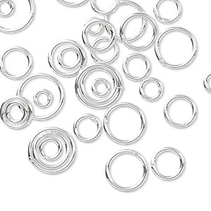 jumpring mix, sterling silver-filled, 4-10mm soldered round, 1.9-8mm inside diameter, 18 gauge. sold per 5-gram pkg, approximately 30-35 jumprings.