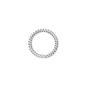 jumpring, silver-plated brass, 15mm twisted round, 12.6mm inside diameter, 16 gauge. sold per pkg of 100.