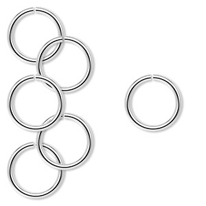 jumpring, sterling silver, 12mm round, 9.5mm inside diameter, 16 gauge. sold per pkg of 6.