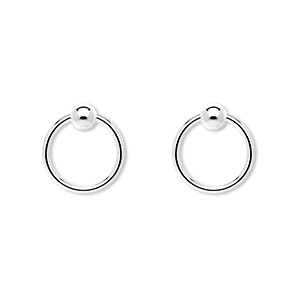 jumpring, sterling silver, 12mm round with 4mm ball, 9.7mm inside diameter, 17 gauge. sold per pkg of 2.