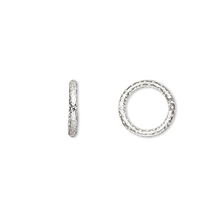 jumpring, sterling silver, 12mm textured soldered round, 8.7mm inside diameter, 15 gauge. sold per pkg of 4.