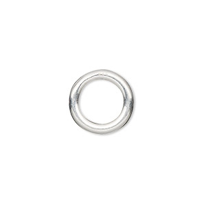 jumpring, sterling silver, 14mm soldered round, 8.8mm inside diameter, 10 gauge. sold per pkg of 2.