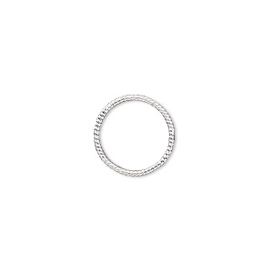 jumpring, sterling silver, 14mm soldered twisted round, 12.3mm inside diameter, 18 gauge. sold per pkg of 2.
