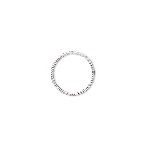 jumpring, sterling silver, 14mm soldered twisted round, 12.6mm inside diameter, 20 gauge. sold per pkg of 2.