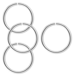 jumpring, sterling silver, 17.5mm round, 15.1mm inside diameter, 16 gauge. sold per pkg of 4.