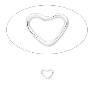 jumpring, sterling silver, 6x5mm soldered heart, 3.8x3.2mm inside diameter, 22 gauge. sold per pkg of 25.