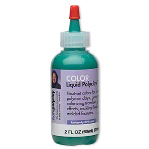 kato polyclay™ medium liquid, transparent green. sold per 2-fluid ounce bottle.