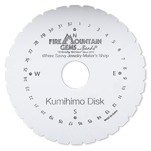 kumihimo disk, eva foam, white and black, 4-1/4 inch round with 22mm inside hole and 32 slots. sold individually.