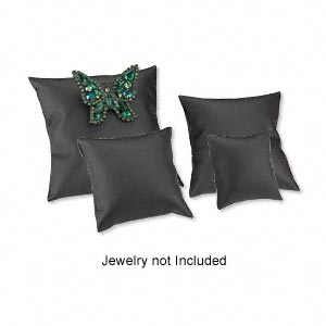 leatherette display pillow set, black. one each 2-1/4in, 3-1/4in, 4in, and 5in square. sold per set of 4 pillows.