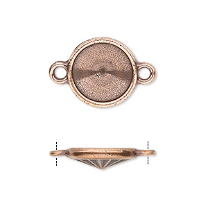 link, almost instant jewelry and tierracast, antique copper-plated pewter (tin-based alloy), 15mm round with 12mm rivoli setting. sold individually.
