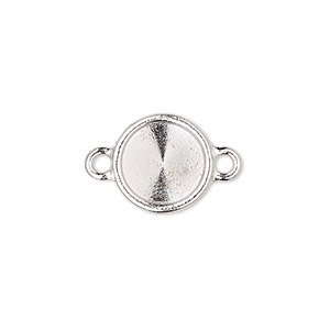 link, almost instant jewelry and tierracast, rhodium-plated pewter (tin-based alloy), 14mm round with ss47 rivoli setting. sold individually.