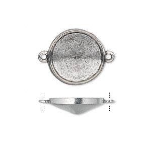 link, almost instant jewelry, antiqued pewter (tin-based alloy), 17mm round with 14mm rivoli setting. sold per pkg of 2.