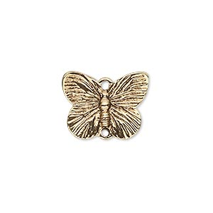 link, antique gold-finished pewter (zinc-based alloy), 18x14mm single-sided butterfly. sold per pkg of 10.