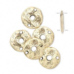 link, antique gold-plated pewter (tin-based alloy), 12x2mm flat round. sold per pkg of 6.