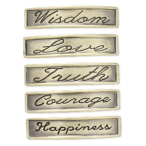 link, antique gold-plated pewter (zinc-based alloy), 42.5x9mm double-drilled curved rectangle with assorted affirmations. sold per pkg of 5.