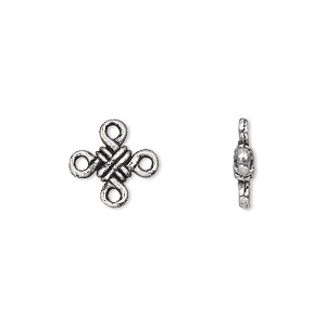 link, antique silver-plated pewter (zinc-based alloy), 11x11mm double-sided knot. sold per pkg of 50.