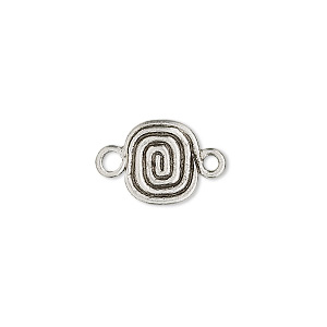 link, antiqued pewter (tin-based alloy), 11x9mm rectangle with coil. sold per pkg of 4.