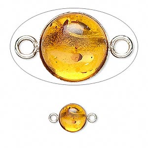 link, baltic amber (heated) and sterling silver, 8mm round. sold per pkg of 2.