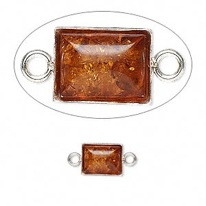 link, baltic amber (heated) and sterling silver, 9x6.5mm rectangle. sold per pkg of 2.