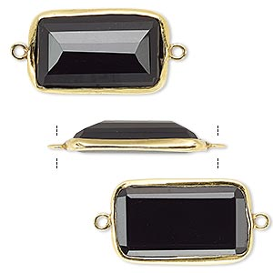 link, black onyx (dyed) and gold-finished sterling silver, 22x13mm two-sided faceted rectangle. sold per pkg of 2.