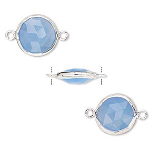 link, blue chalcedony (dyed) and sterling silver, 12mm double-sided faceted round. sold per pkg of 2.