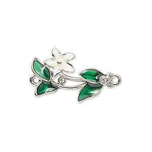 link, enamel / swarovski crystals / silver-plated pewter (zinc-based alloy), white / green / crystal clear, 23x15mm single-sided flower and leaves. sold individually.