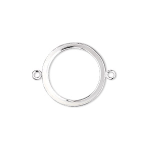 link, fine silver, 19mm open-back round with 18mm round bezel cup setting. sold individually.