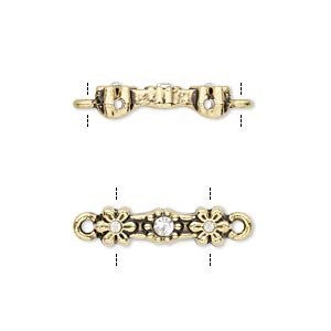 link, glass rhinestone and antique gold-finished pewter (zinc-based alloy), clear, 18x5mm double-drilled bar with flower design, fits up to 11.5mm bead. sold per pkg of 10.
