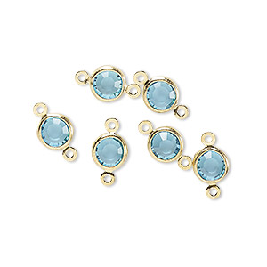 link, glass rhinestone and gold-finished brass, aqua blue, 6-6.5mm faceted round. sold per pkg of 6.