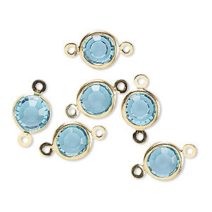 link, glass rhinestone and gold-finished brass, aqua blue, 8-9mm faceted round. sold per pkg of 6.