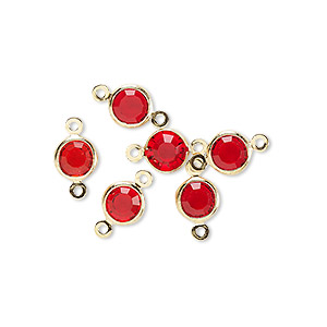 link, glass rhinestone and gold-finished brass, ruby red, 6-6.5mm faceted round. sold per pkg of 6.