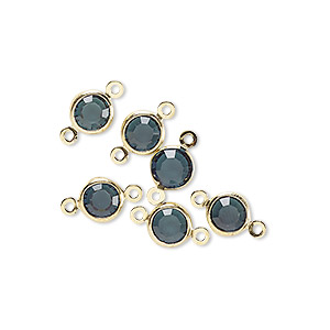 link, glass rhinestone and gold-finished brass, zircon blue, 6-6.5mm faceted round. sold per pkg of 6.