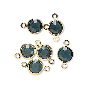 link, glass rhinestone and gold-finished brass, zircon blue, 8-9mm faceted round. sold per pkg of 6.