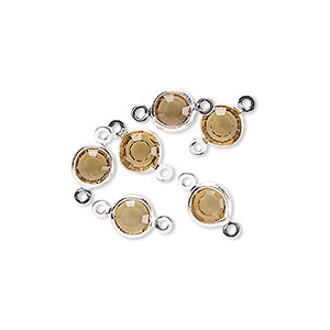 link, glass rhinestone and silver-finished brass, topaz yellow, 6-6.5mm faceted round. sold per pkg of 6.